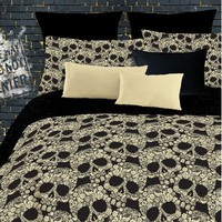FLOWER SKULLS COMFORTER SET QUEENBLACK/TAN