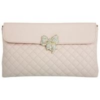 Bow Detail Nude Quilted Clutch - View All  - New In