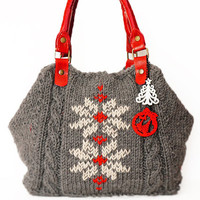 bag-Christmas Grey Shoulder Bag Celebrity Style With Genuine Leather Red Straps / Handles hand bag hand made-knit bag