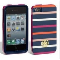 Amazon.com: Tory Burch Navy Pink Classic Stripes iPhone 4/4S Hardshell Case: Cell Phones &amp; Accessories