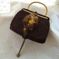 Advant Garde Purse, Brown silk, Steampunk Couture, fur, jewelry, watch works and brass hardware, OOAK unique retro clutch, LAYAWAY PLANS