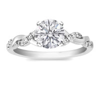 Engagement Ring - Round Diamond Petite twisted pave band Engagement Ring in 14K White Gold - ES873BRWG