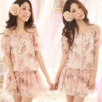 Floral Flat Shoulder Slim Chiffon Dress