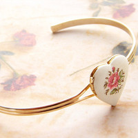 Vintage heart locket cuff bracelet - Valentine white enamel pink rose locket cuff limited edition Valentine Heart jewelry