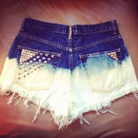 Ombre Studded Denim Shorts by TheChicElephant on Etsy
