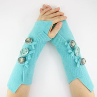 fingerless mittens arm warmers arm cuffs eco friendly fingerless gloves aqua turquoise pastel blue recycled wool tagt curationnation