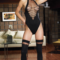 Sheer Teddy w/ Lace Up Front &amp; Matching Stocking, Leg Avenue, Angel Bodywear