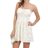 Ivory Strapless Lace Sequin Dress