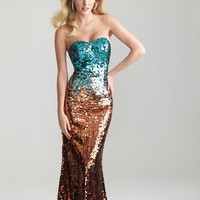 Turquoise & Orange Ombre Sequin Strapless Prom Dress - Unique Vintage - Cocktail, Pinup, Holiday & Prom Dresses.
