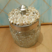 Beach Decor Shell Jar - Seashell Jar - Umbonium and Swarovski crystal shell jar - Coastal home decor - beach decor