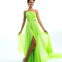 Mac Duggal Prom 2013 - One Shoulder Neon Lime Gown - Unique Vintage - Cocktail, Pinup, Holiday & Prom Dresses.