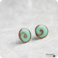 Post earrings  Mint blue by Dariami on Etsy