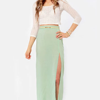 She's Got Legs Sage Green Maxi Skirt