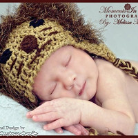 Crochet lion hat with fun fur mane. Multiple sizes available, made to order.