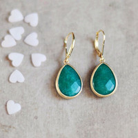 Simple elegant bold and feminine drop emerald  green jade framed earrings by YUNILIsmiles