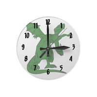 winged standing mean dragon green.png round wallclock from Zazzle.com