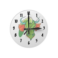 Dragon head with horns.png wall clocks from Zazzle.com