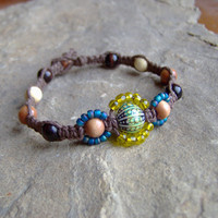 Brown Hemp Bracelet w/ Color Change Mood Bead by KnottyandNiceHemp