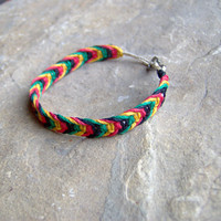Rasta Hemp Bracelet or Anklet  Fish Bone Knot by KnottyandNiceHemp