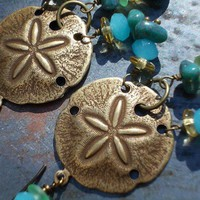 Long sand dollar dangle earrings brass chandelier ocean sea inspired
