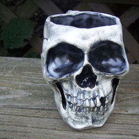 Spooky Skull Mug with Bone Handle  Made to by MuddPuppyPottery