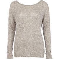 Beige open cross back long sleeve t-shirt