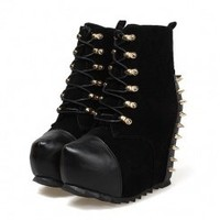 Wholesale  Women western boots spiked studs wholesale shoes CZ-2486 black - Lovely Fashion