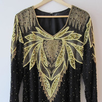 Who's That Lady - Vintage 80s Gold n Black Sequin Long Dress