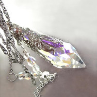 Clear Crystal Necklace Clear AB Swarovski Crystal by DorotaJewelry