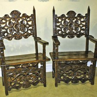 Phenomenal Pair of Italian Renaissance Carved Chairs from antiquingwithpamela on Ruby Lane