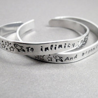 Friendship Bracelets SET OF TWO - To Infinity and Beyond - Hand Stamped Aluminum Cuff