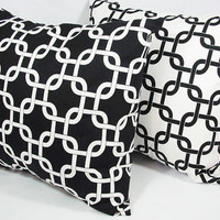 Two Black and White Couch Pillows - 18 x 18 inches Black and White Geometric Pillow - Decorative Throw Pillow Cover Accent Pillow