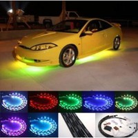 "Amazon.com: Fuloon (TM) 7 Color LED Under Car Glow Underbody System Neon Lights Kit 48"" x 2 & 36"" x 2 w/Sound Active Function and Wireless Remote Control: Car Electronics"