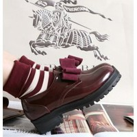 Wholesale Fashion sneakers the 2013 new style sweet bowtie shoes CZ-2592 wine red - Lovely Fashion