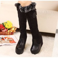 Wholesale Stylish black women knee high boots wedge shoe CZ-2612 black - Lovely Fashion