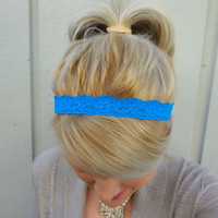 Sapphire blue stretch lace headband feminine - romantic - classic