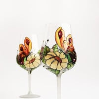 Wine Glasses Hand Painted Set of 2 Butterfly and Flowers