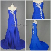 Real Mermaid V-neck Sleeveless Count Train Chiffon Applique Blue Long Prom/Evening/Party/Homecoming/Bridesmaid/Formal Dress 2013 New Arrival