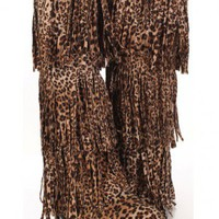 Leopard Faux Suede Fringe Tiered AMIclubwear Boots @ Amiclubwear Boots Catalog:women's winter boots,leather thigh high boots,black platform knee high boots,over the knee boots,Go Go boots,cowgirl boots,gladiator boots,womens dress boots,skirt boots,pink b