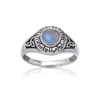 Zodiac Wheel Astrological Symbols Sterling Silver Celtic Knot and Rainbow Moonstone Ring(Sizes 4,5,
