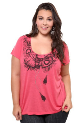 Crafty Couture - Coral Peacock Lace Short Sleeve Top | Tops