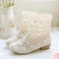 Woman lace casual boots shoes spring summer beige