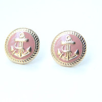 Pink Anchor Studs - Golden Anchor Earrings