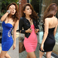 Waist Strapless Stretchy Clubwear Mini Dress