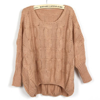 Women Bat Wing Pink Blends Loose Sweater One Size YS1074p