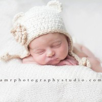 Organic Baby Hat  Cream Earflap Beanie with by daisiescrochet.