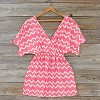 Lucky Charm Chevron Dress, Sweet Women&#x27;s Bohemian Clothing