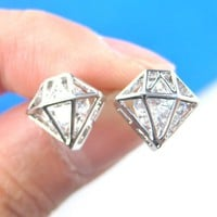 3D Diamond Shaped Rhinestone Shiny Bling Stud Earrings in Silver