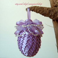 Easter Egg Ornament Made From Ribbon