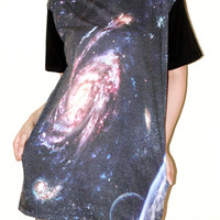 Star Cluster Galaxy Andromeda Universe Short Sleeve Black Photo Transfer Art Punk Rock T-Shirt Size L